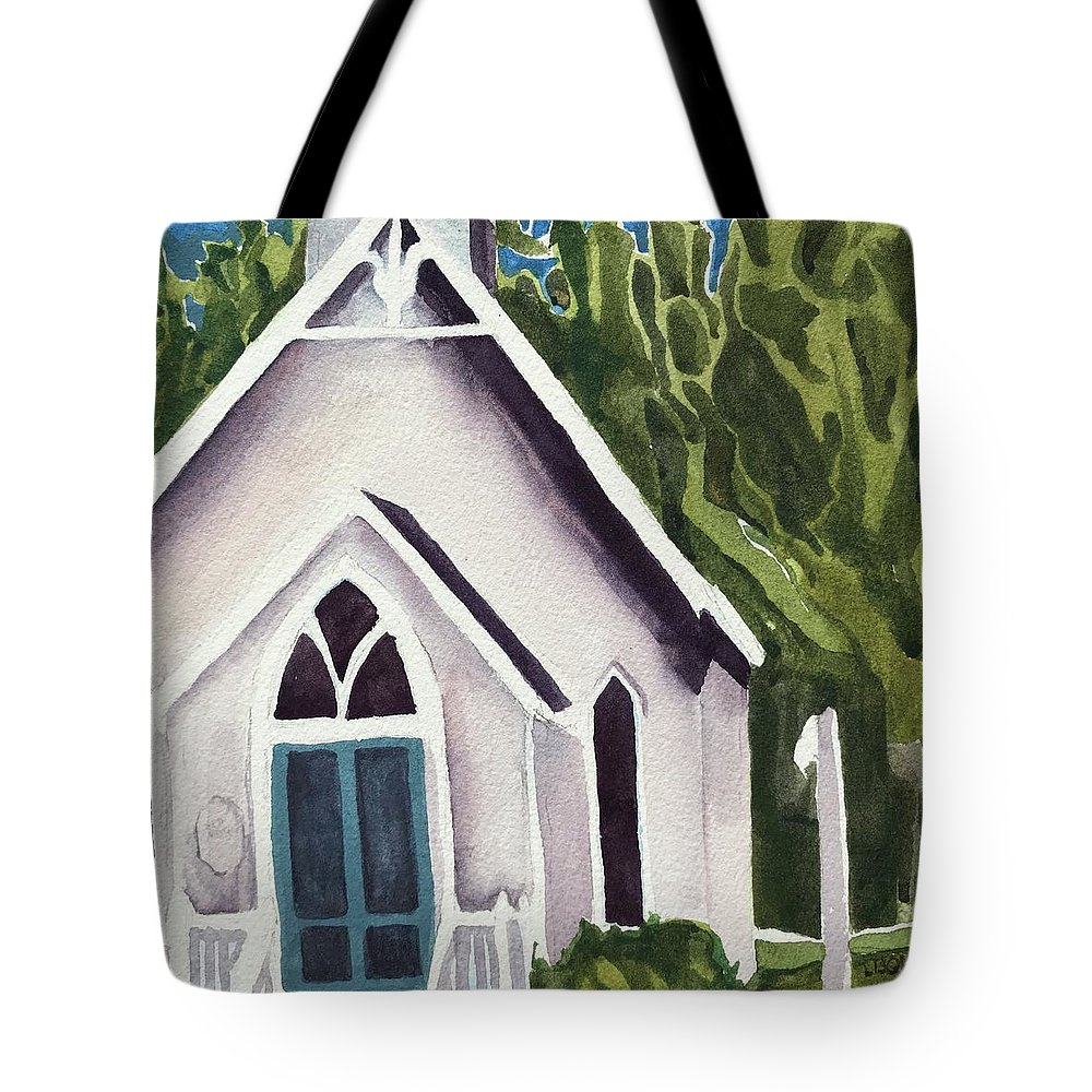 White Church Tote Bag featuring the painting Old Church Copake Falls by Lynne Bolwell