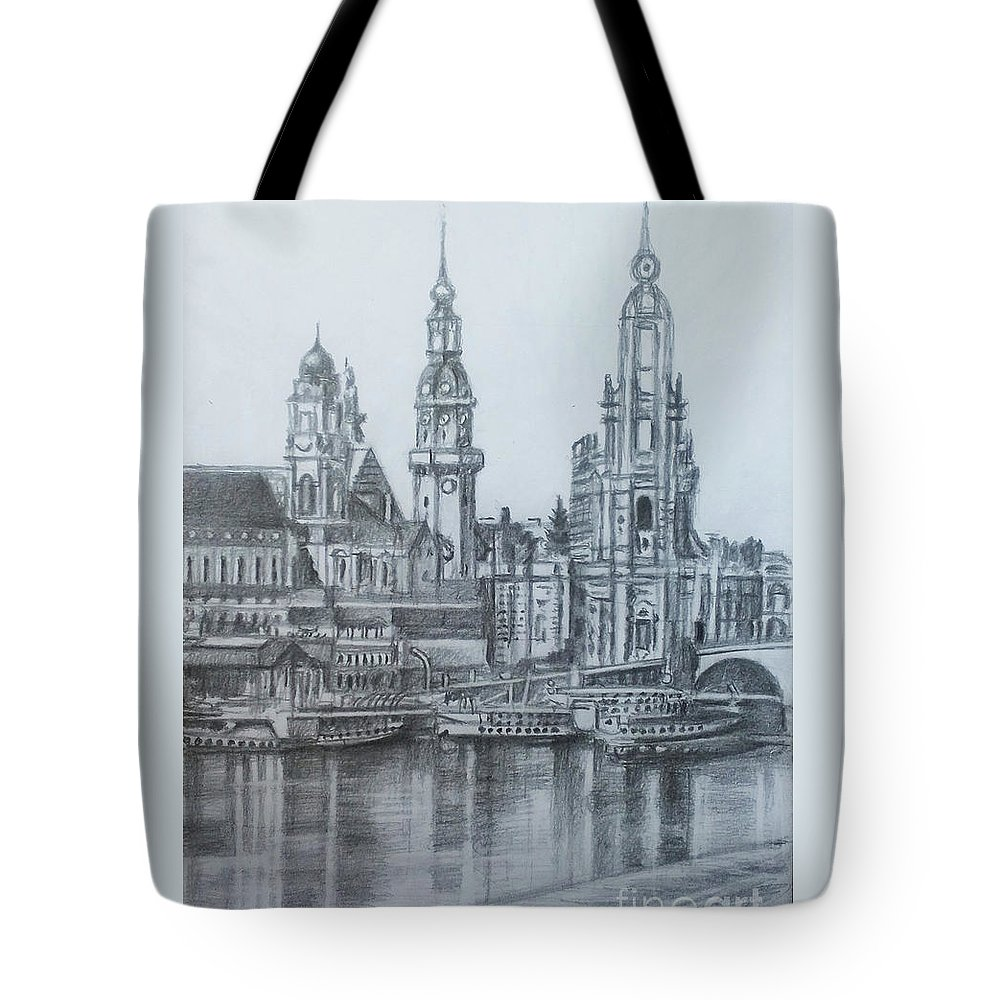 Old Dresden Tote Bag featuring the drawing Old City Of Dresden- Dresden by Mohammad Hayssam Kattaa