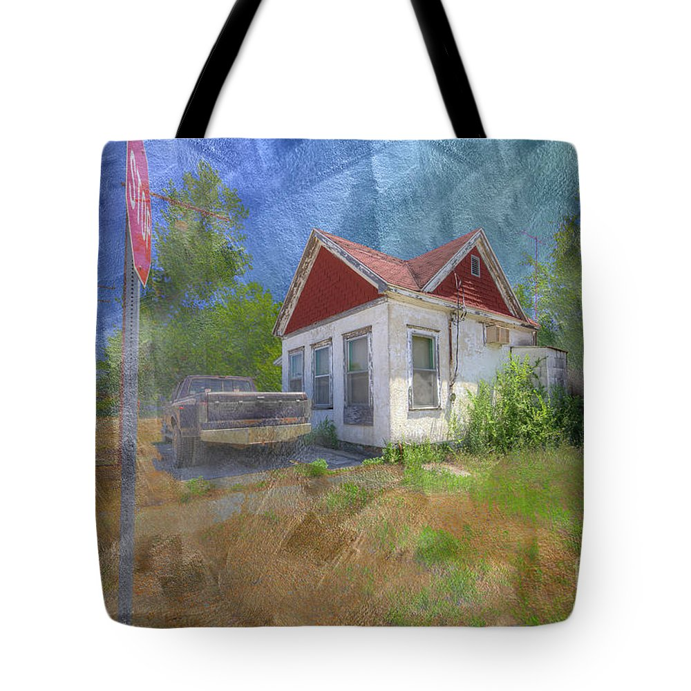 Photography Tote Bag featuring the digital art Old Gas Station by Larry Braun