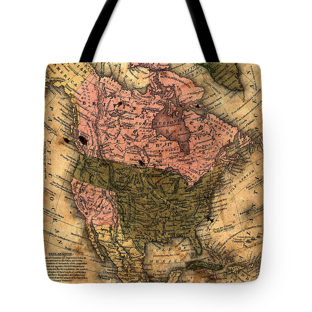 Outdoors Tote Bag featuring the photograph Old North America Map by Belterz