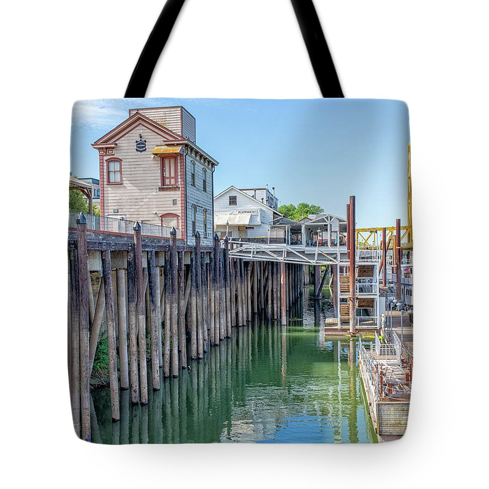 Old Town Sacramento Tote Bag featuring the photograph Old Sacramento Waterfront by Jim Thompson