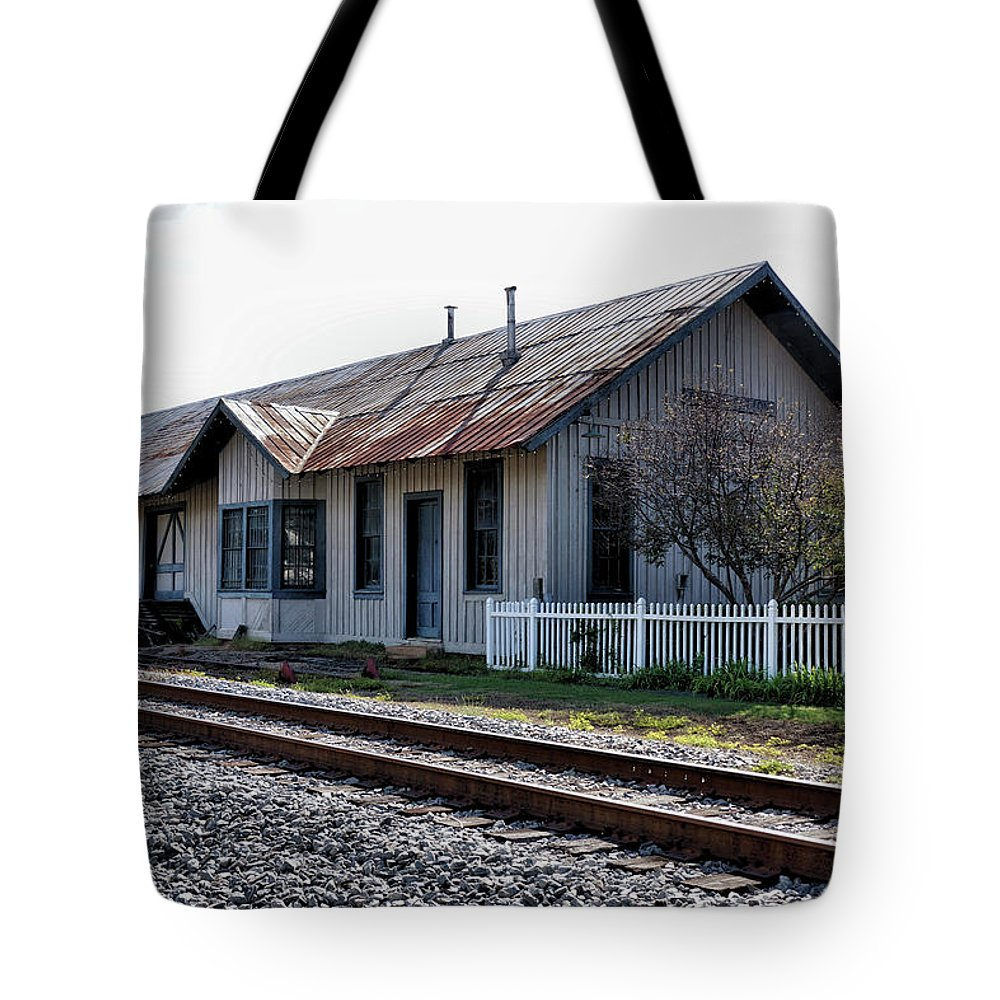 Railroad Depot Tote Bag featuring the photograph Old Train Depot In Gray, Georgia 1 by John Trommer