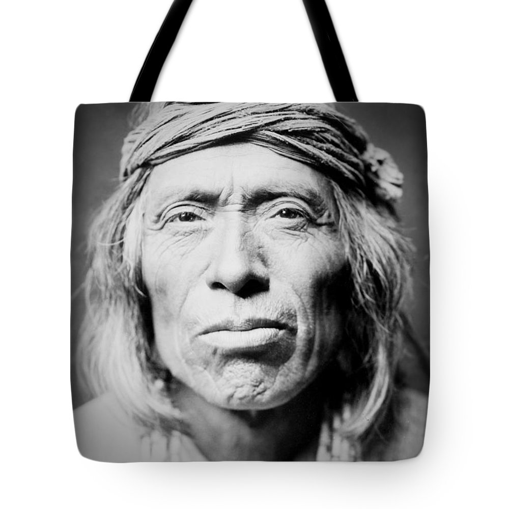 1903 Tote Bag featuring the photograph Old Zuni Man circa 1903 by Aged Pixel