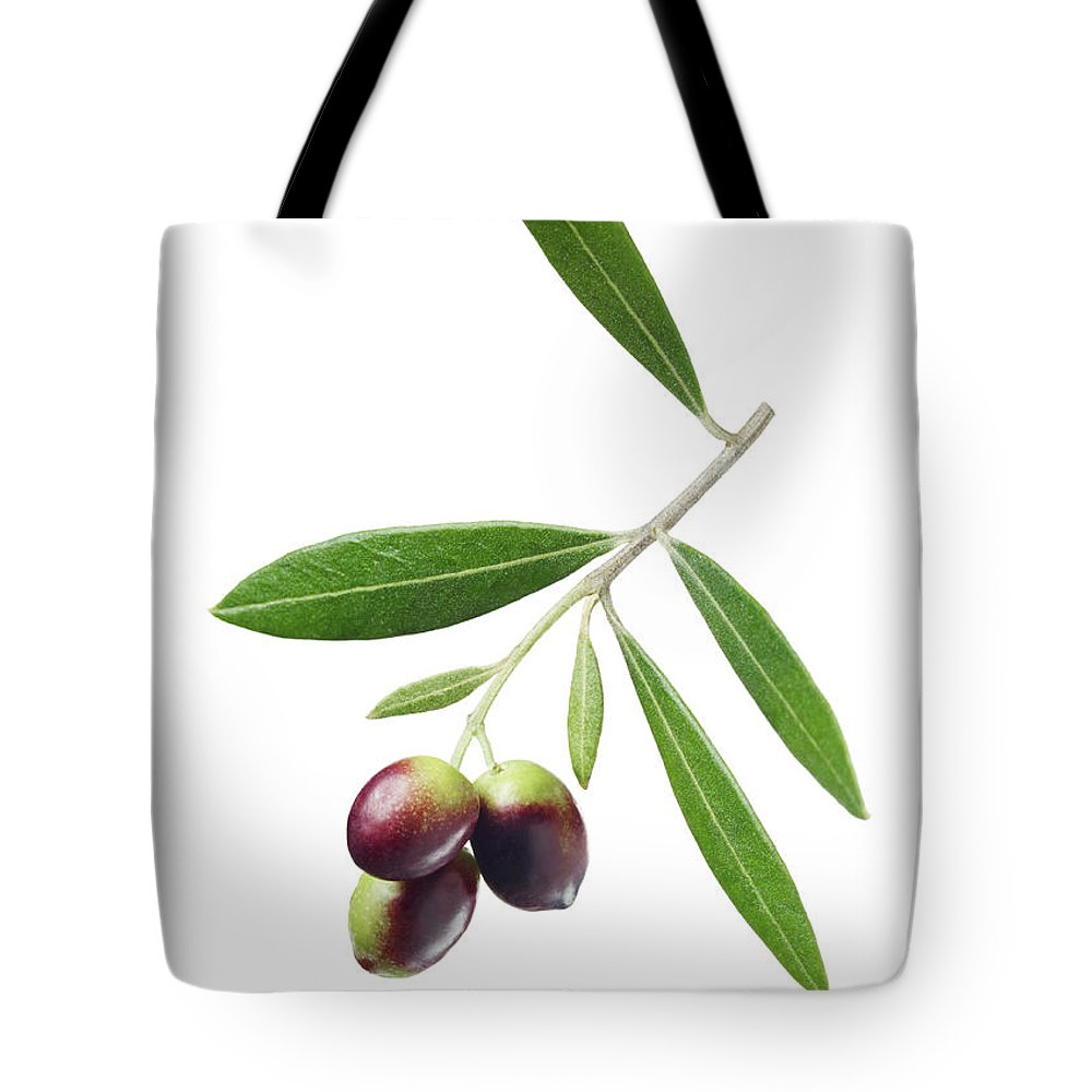 White Background Tote Bag featuring the photograph Olives On Branch by Lauren Burke