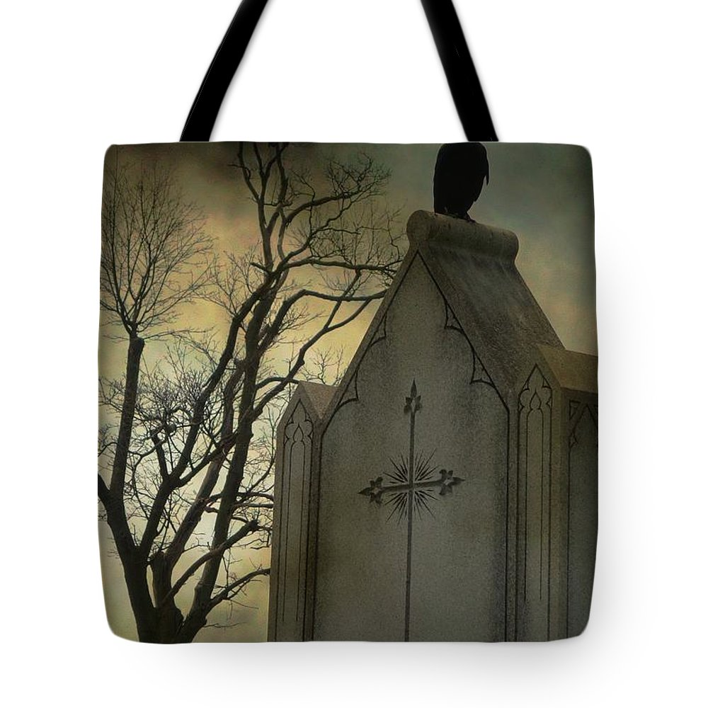 Crow Tote Bag featuring the photograph Ominous Clouds Surround Crow by Gothicrow Images