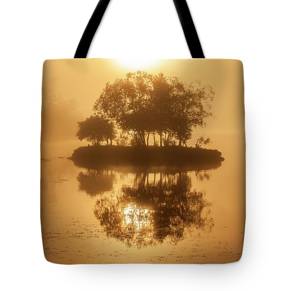 On Golden Pond Tote Bag featuring the photograph On Golden Pond Sunrise Lake Winnipesaukee by Trevor Slauenwhite
