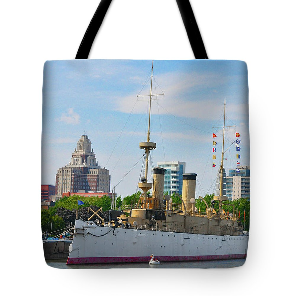 The Tote Bag featuring the photograph On The Waterfront - The Monitor - Philadelphia by Bill Cannon