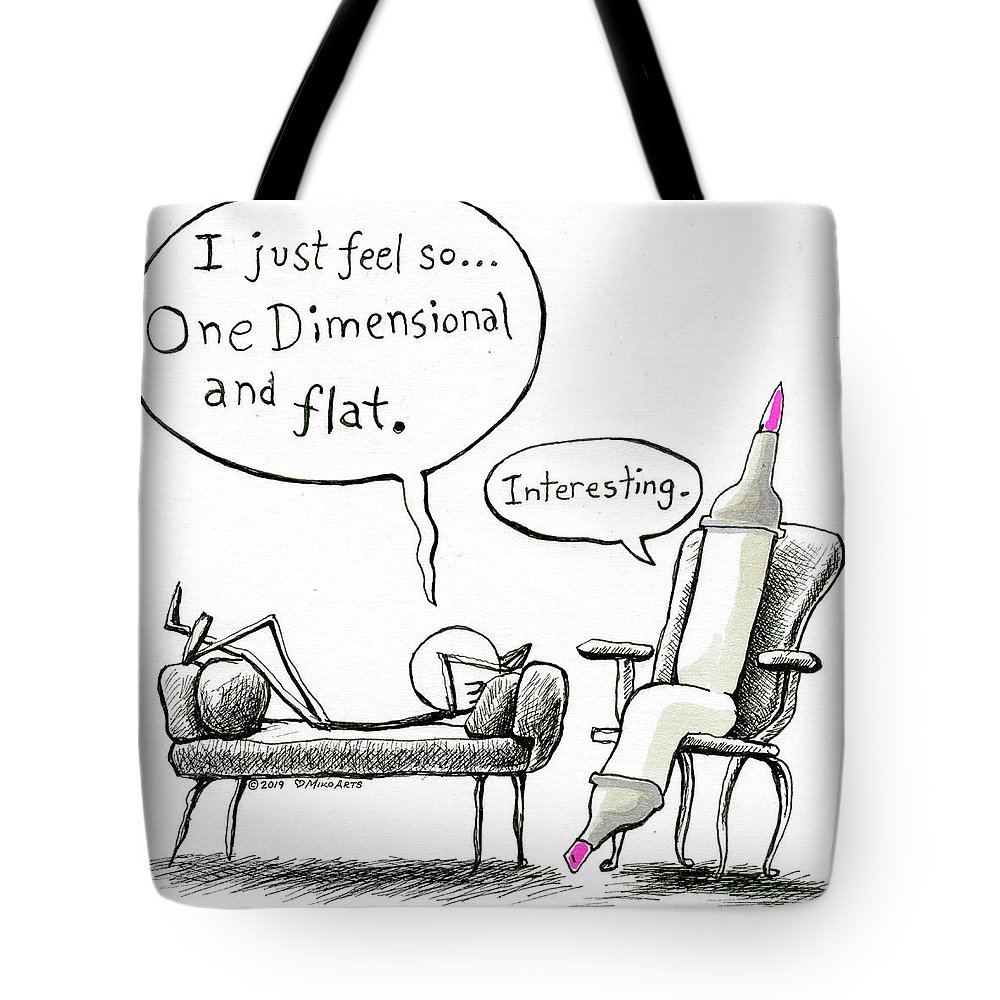 Comic Tote Bag featuring the painting One Dimensional Feeling by Miko Zen