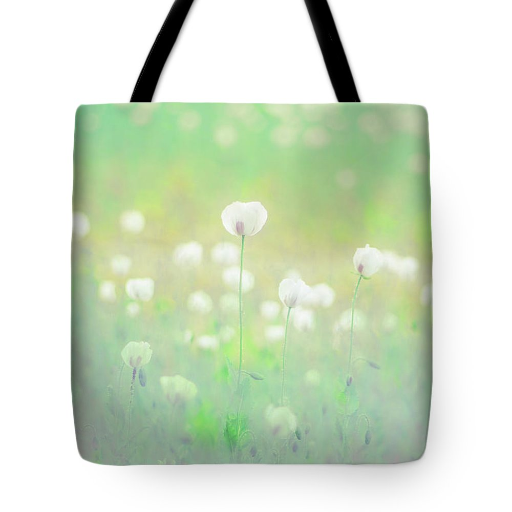 Flower Tote Bag featuring the photograph opium poppies II by Jo Stephen
