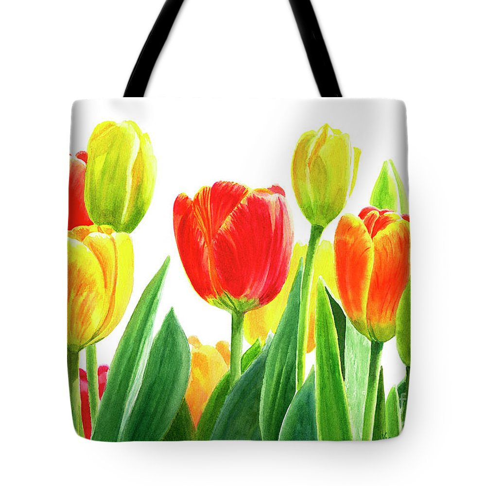 Tulips Tote Bag featuring the painting Orange And Yellow Tulips Horizontal Design by Sharon Freeman