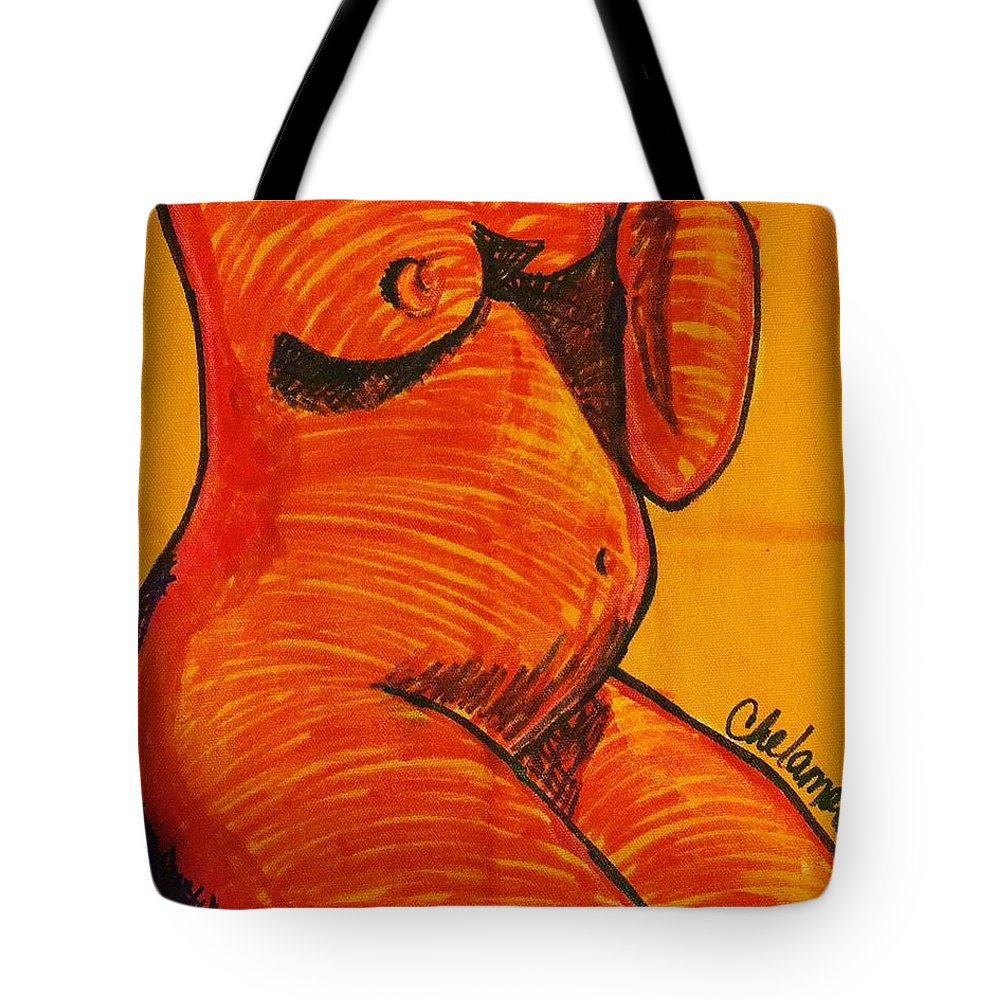 Mixed Media Tote Bag featuring the drawing Orange Belly Bump  by Che' La'Mora