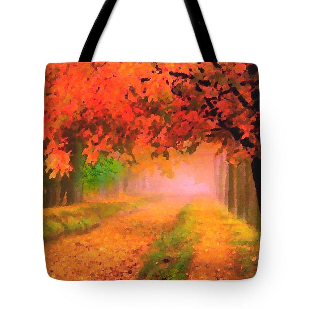 Road Tote Bag featuring the digital art Orange Fall by Jas Stem