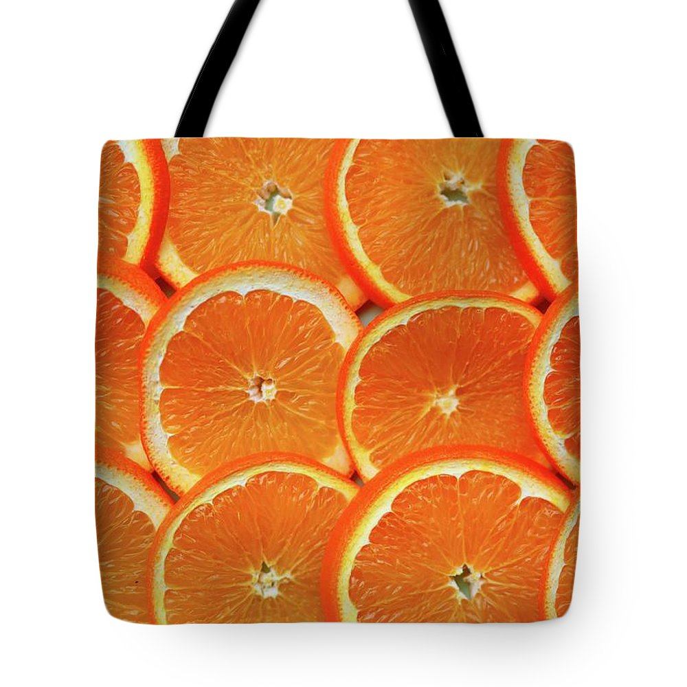 Orange Color Tote Bag featuring the photograph Orange Fruit Slices by D. Sharon Pruitt Pink Sherbet Photography