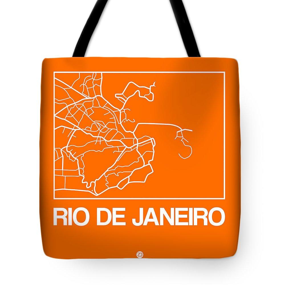 Rio De Janeiro Tote Bag featuring the digital art Orange Map Of Rio De Janeiro by Naxart Studio
