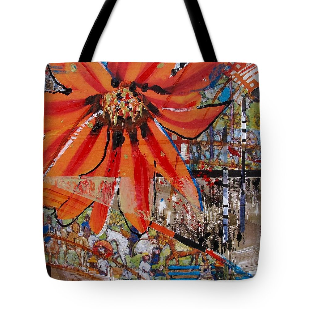 Mixed Media Tote Bag featuring the mixed media Orange Released by Denise Theissen