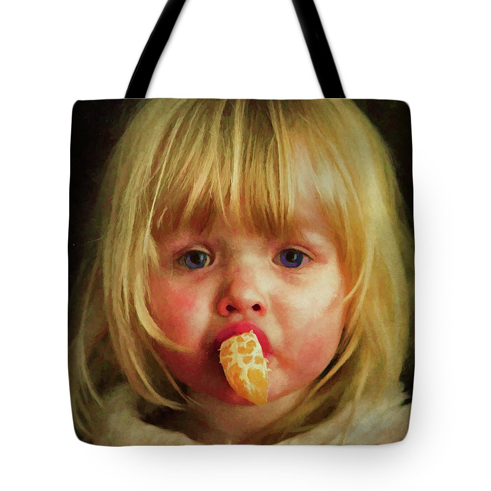 Girl Tote Bag featuring the digital art Orange by Rick Wiles