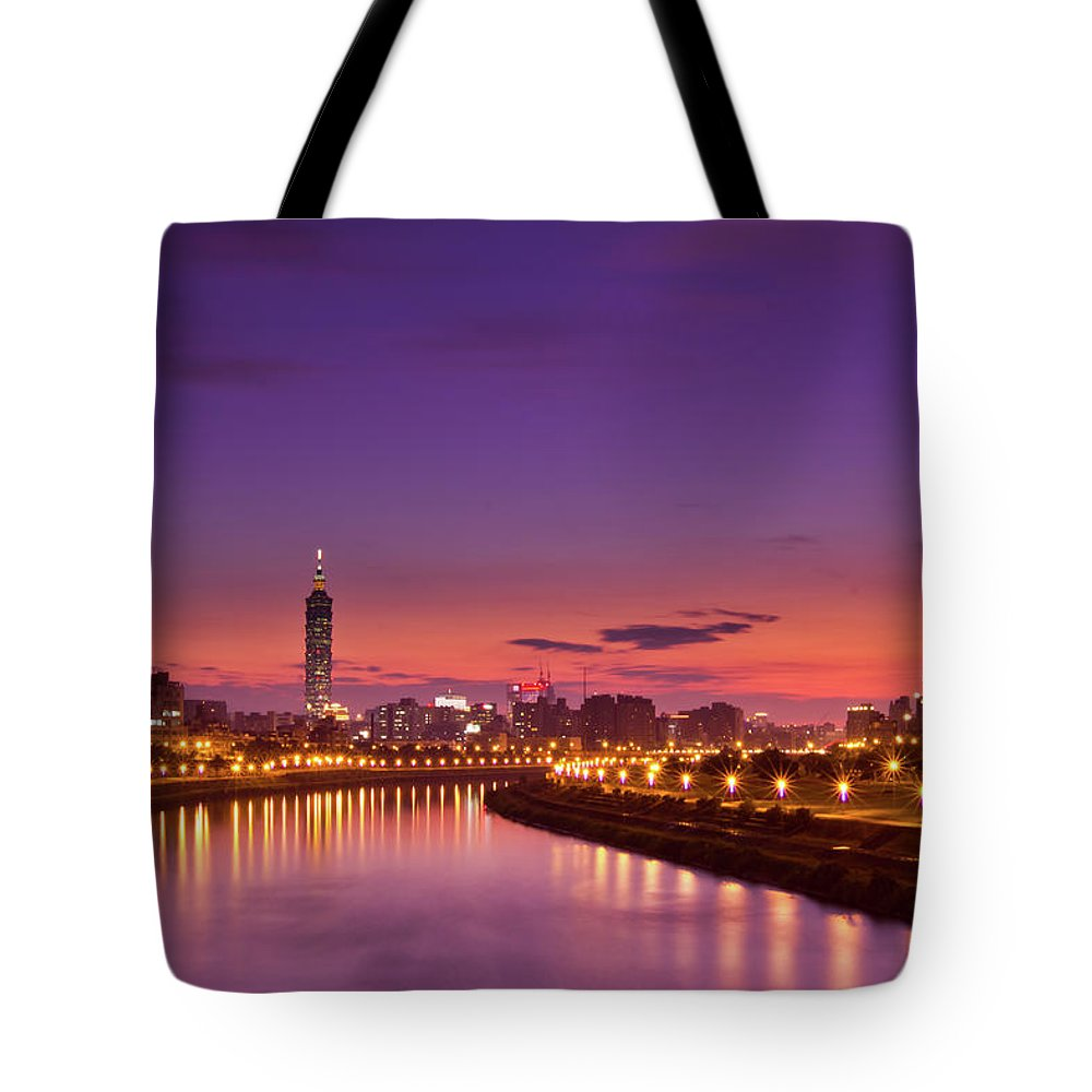 Orange Color Tote Bag featuring the photograph Orange Sunset by © Copyright 2011 Sharleen Chao