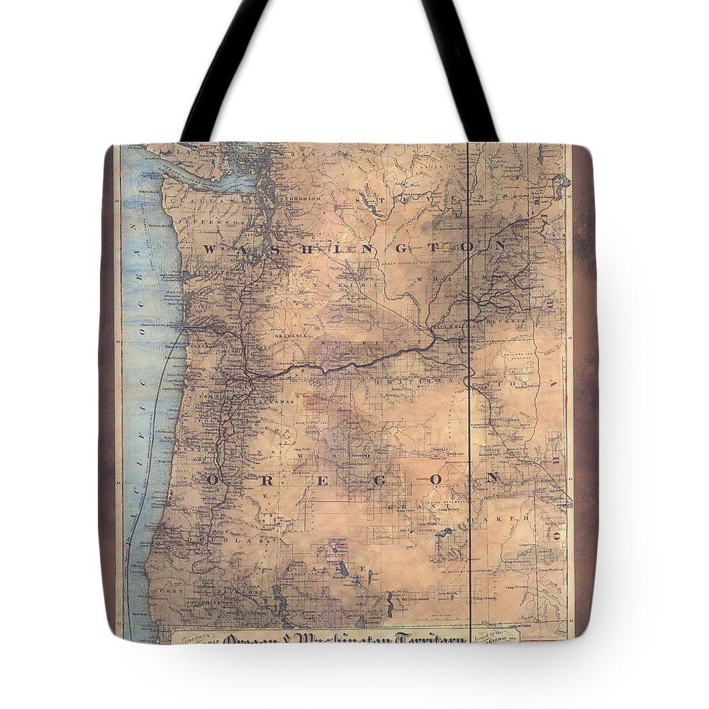 Oregon Tote Bag featuring the painting Oregon Washington Historic Map Colton Sepia Map Hand Painted by Lisa Middleton