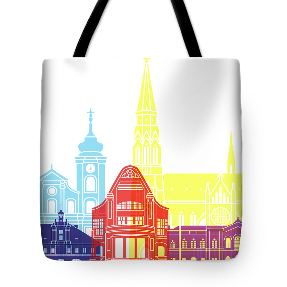 Osijek Tote Bag featuring the painting Osijek Skyline Pop by Pablo Romero
