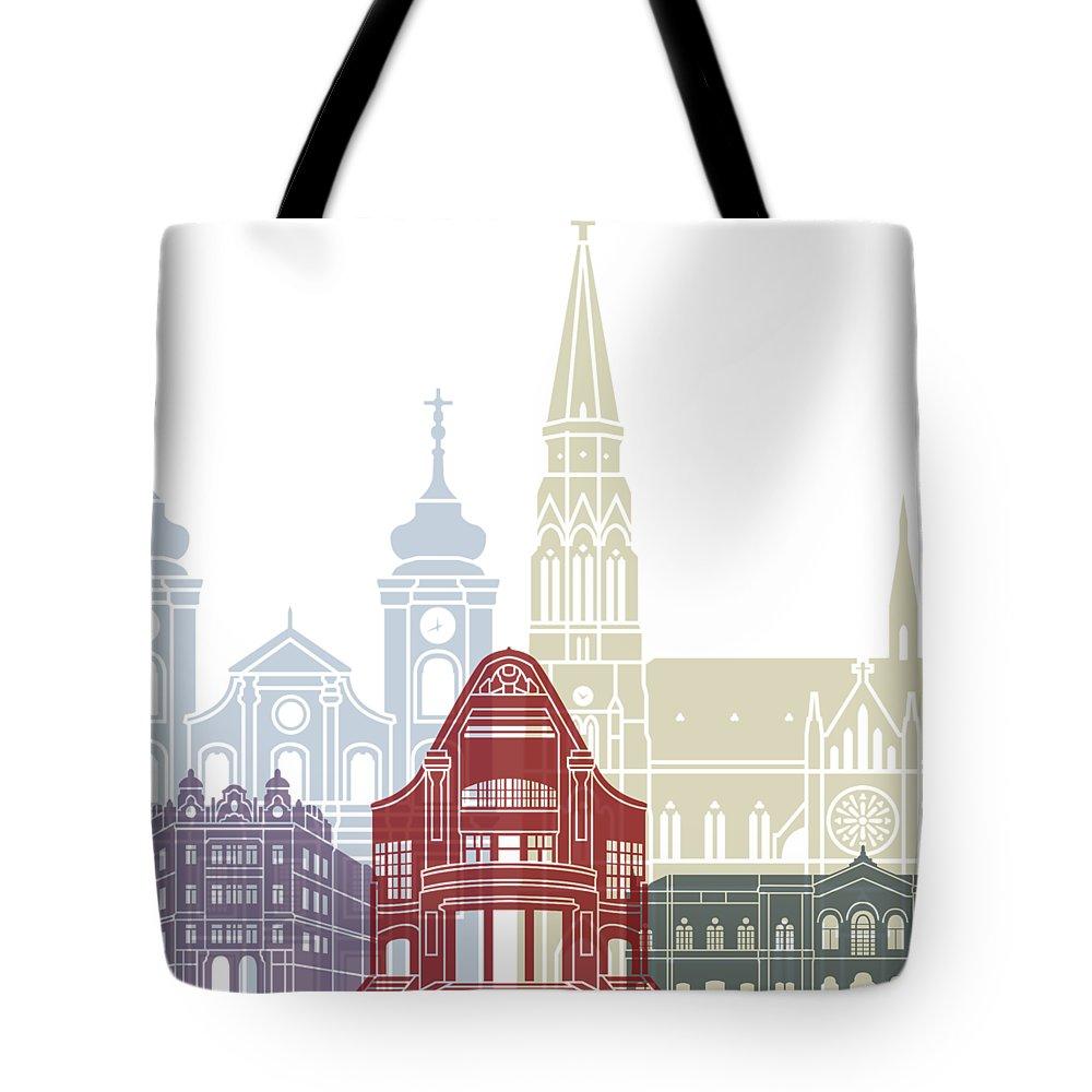 Osijek Tote Bag featuring the painting Osijek Skyline Poster by Pablo Romero