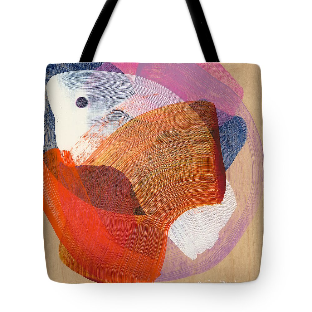Abstract Tote Bag featuring the painting Out Of The Blue 01 by Claire Desjardins