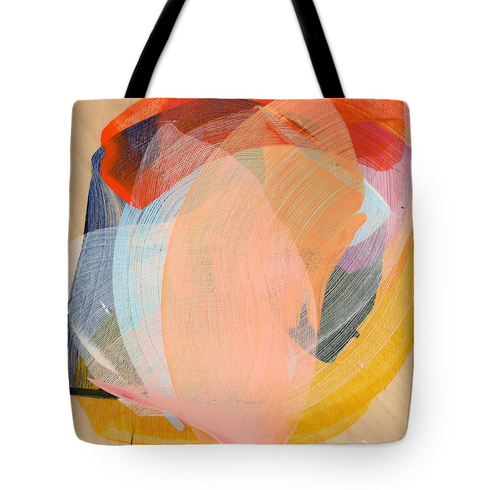 Abstract Tote Bag featuring the painting Out Of The Blue 02 by Claire Desjardins