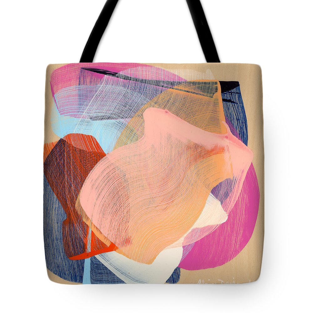 Abstract Tote Bag featuring the painting Out Of The Blue 03 by Claire Desjardins