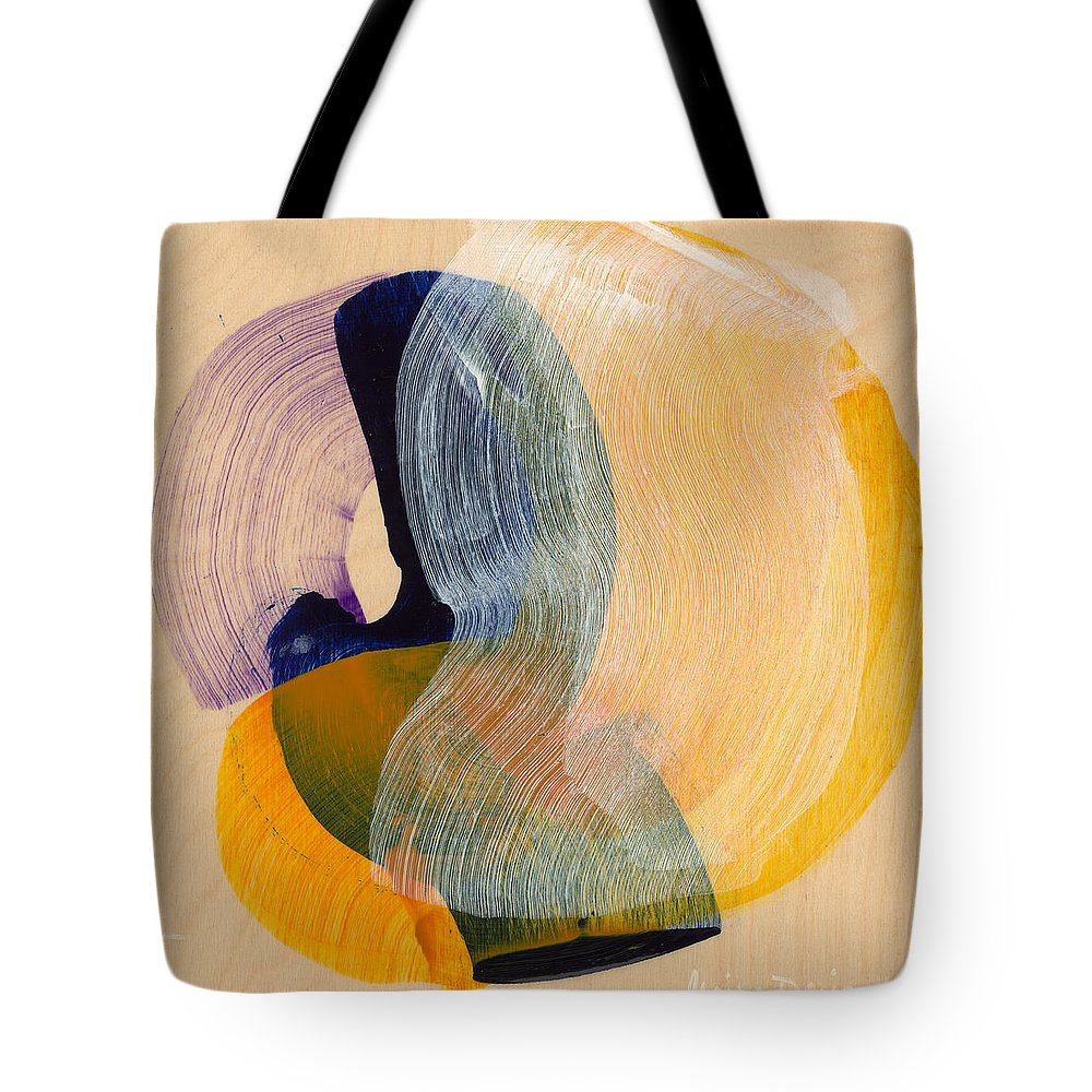 Abstract Tote Bag featuring the painting Out Of The Blue 04 by Claire Desjardins