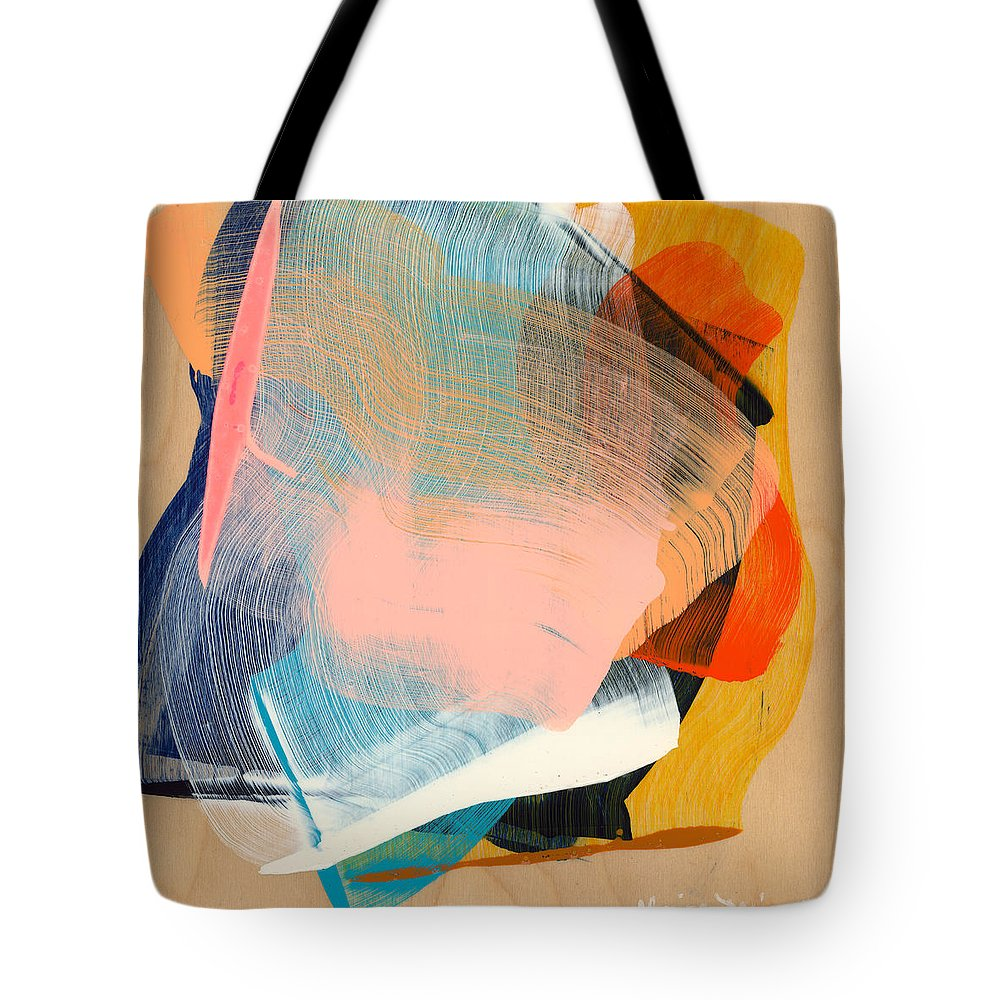 Abstract Tote Bag featuring the painting Out Of The Blue 06 by Claire Desjardins