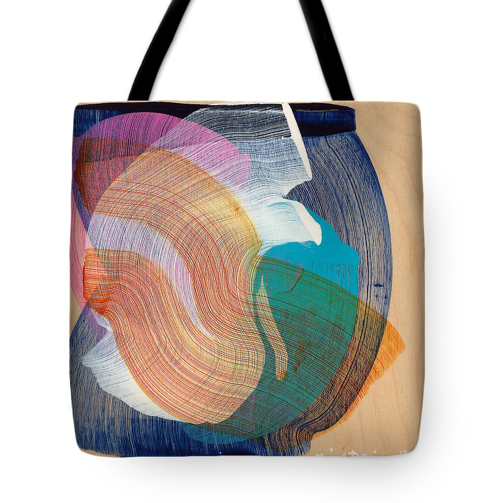 Abstract Tote Bag featuring the painting Out Of The Blue 07 by Claire Desjardins