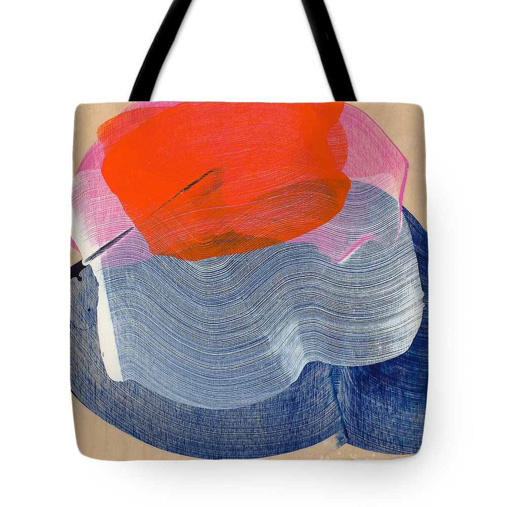 Abstract Tote Bag featuring the painting Out Of The Blue 08 by Claire Desjardins