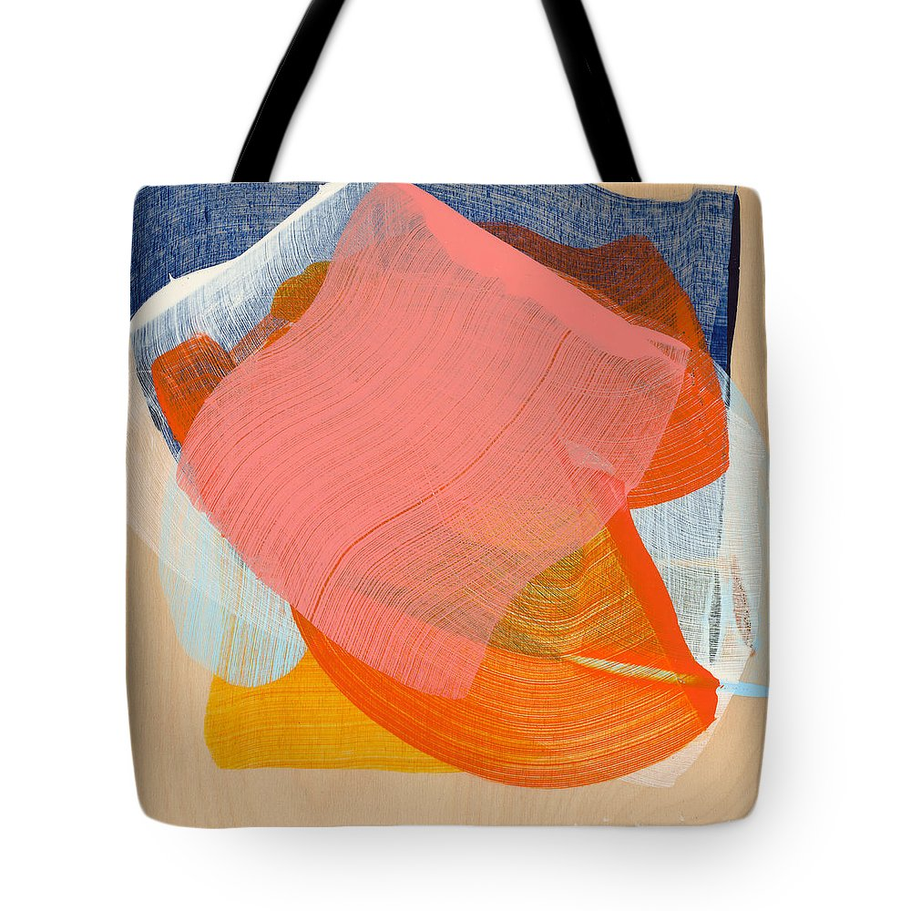 Abstract Tote Bag featuring the painting Out Of The Blue 10 by Claire Desjardins