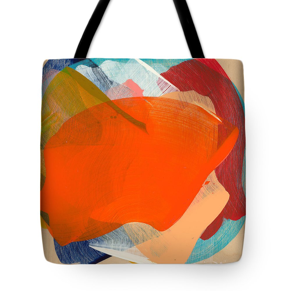Abstract Tote Bag featuring the painting Out Of The Blue 11 by Claire Desjardins