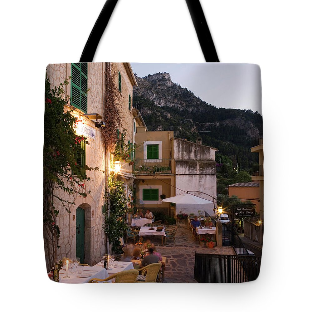People Tote Bag featuring the photograph Outdoor Seating At Son Llarg Restaurant by Holger Leue