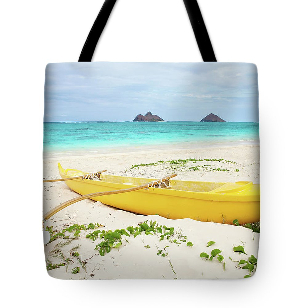 Scenics Tote Bag featuring the photograph Outrigger Canoe Lanikai Beach by M Swiet Productions