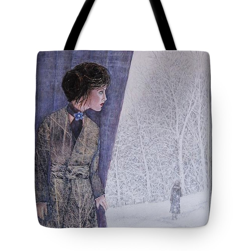 Illustration Tote Bag featuring the mixed media Overlooked by Kathy Gales