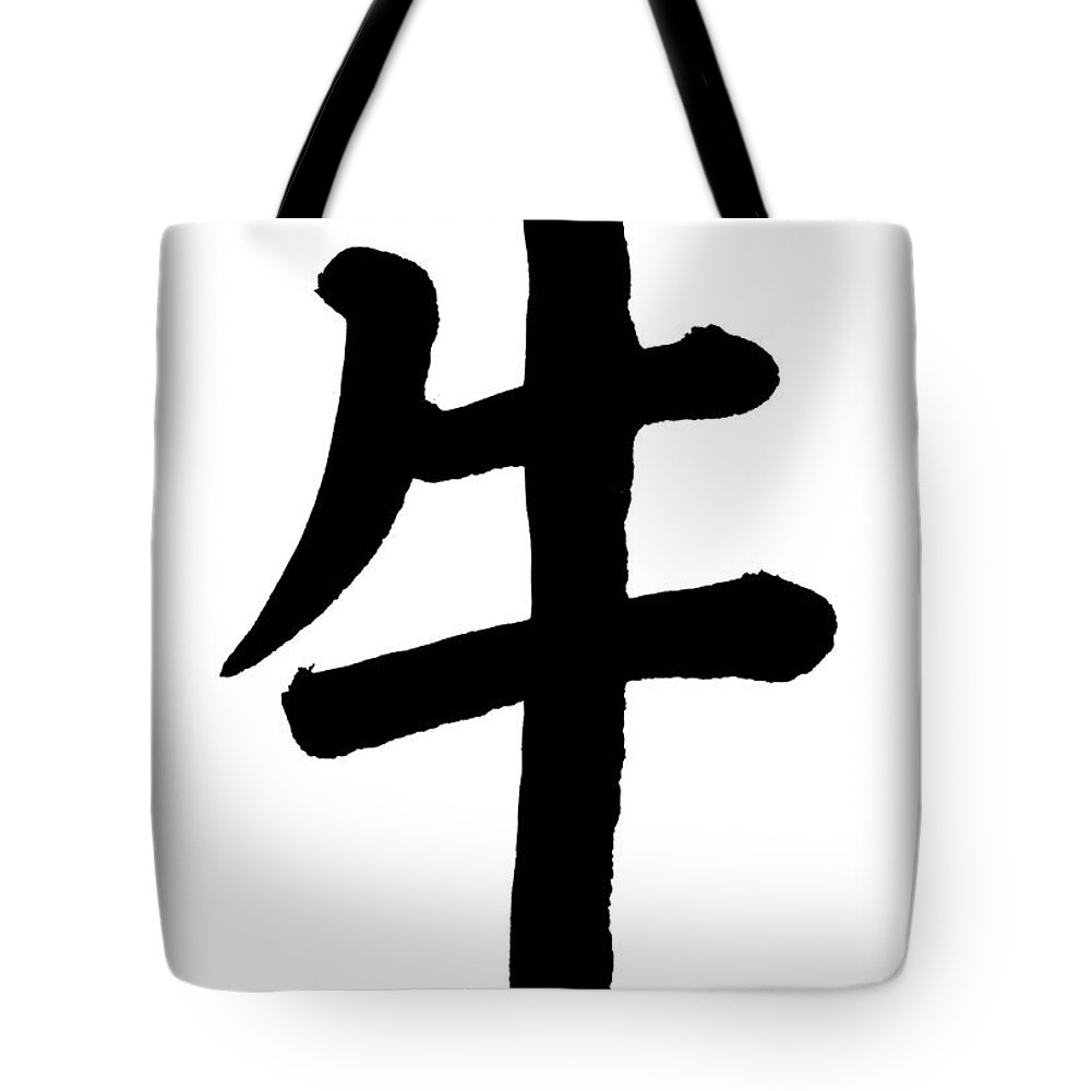 Chinese Culture Tote Bag featuring the photograph Ox In Chinese, Astrology Sign by Blackred
