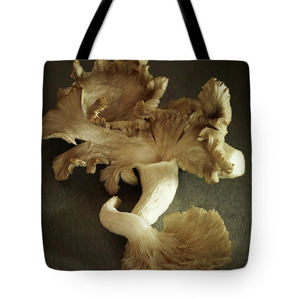 Edible Mushroom Tote Bag featuring the photograph Oyster Mushrooms Still Life by Carin Krasner