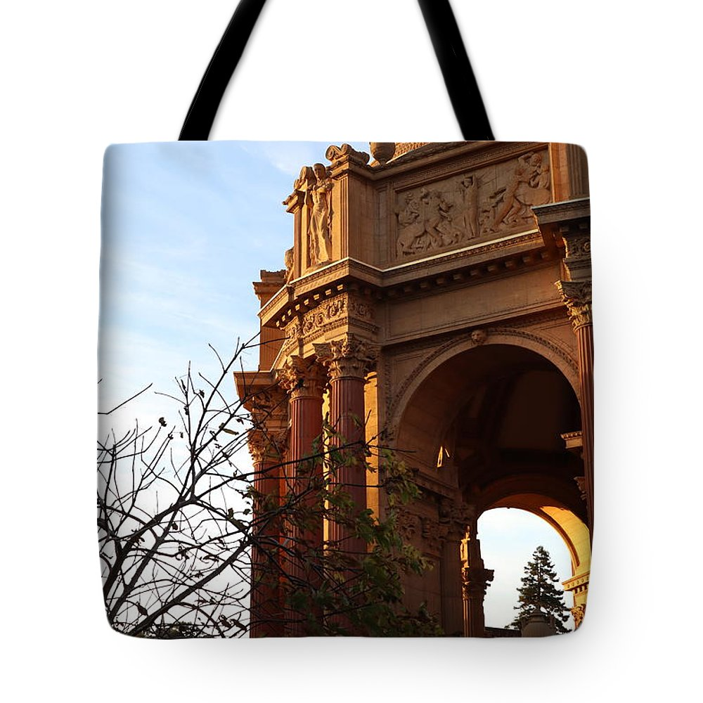 Palace Of Fine Arts Tote Bag featuring the photograph Palace Of Fine Arts At Sunset by Mini Arora