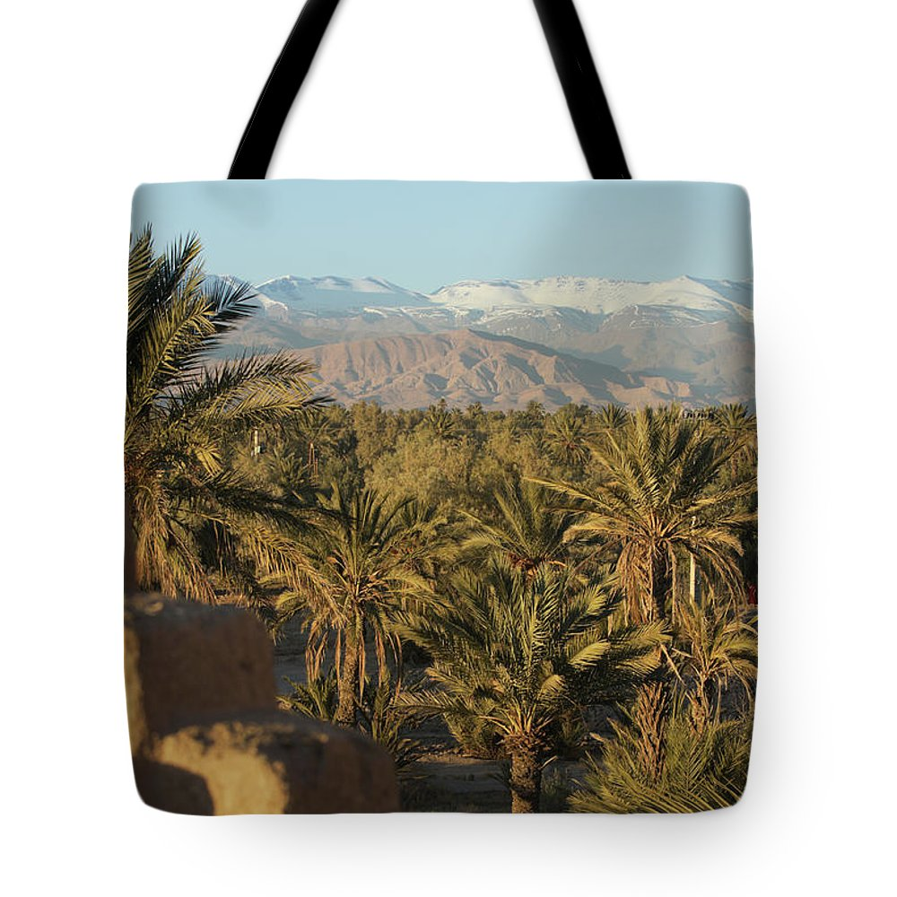Scenics Tote Bag featuring the photograph Palm Trees, Mountains And Kasbah by Edenexposed