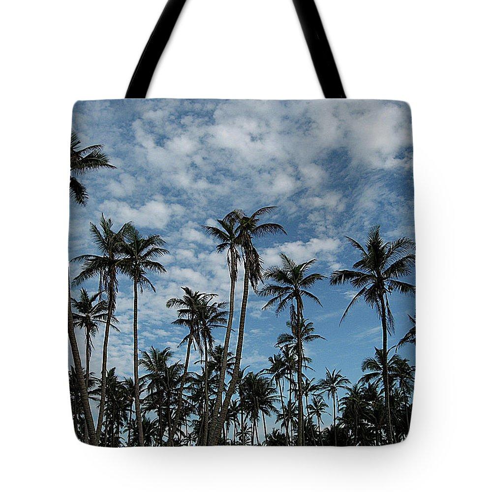 Tranquility Tote Bag featuring the photograph Palms Against Blue Sky by Rupankar Mahanta Photography (www.rupankar.in)