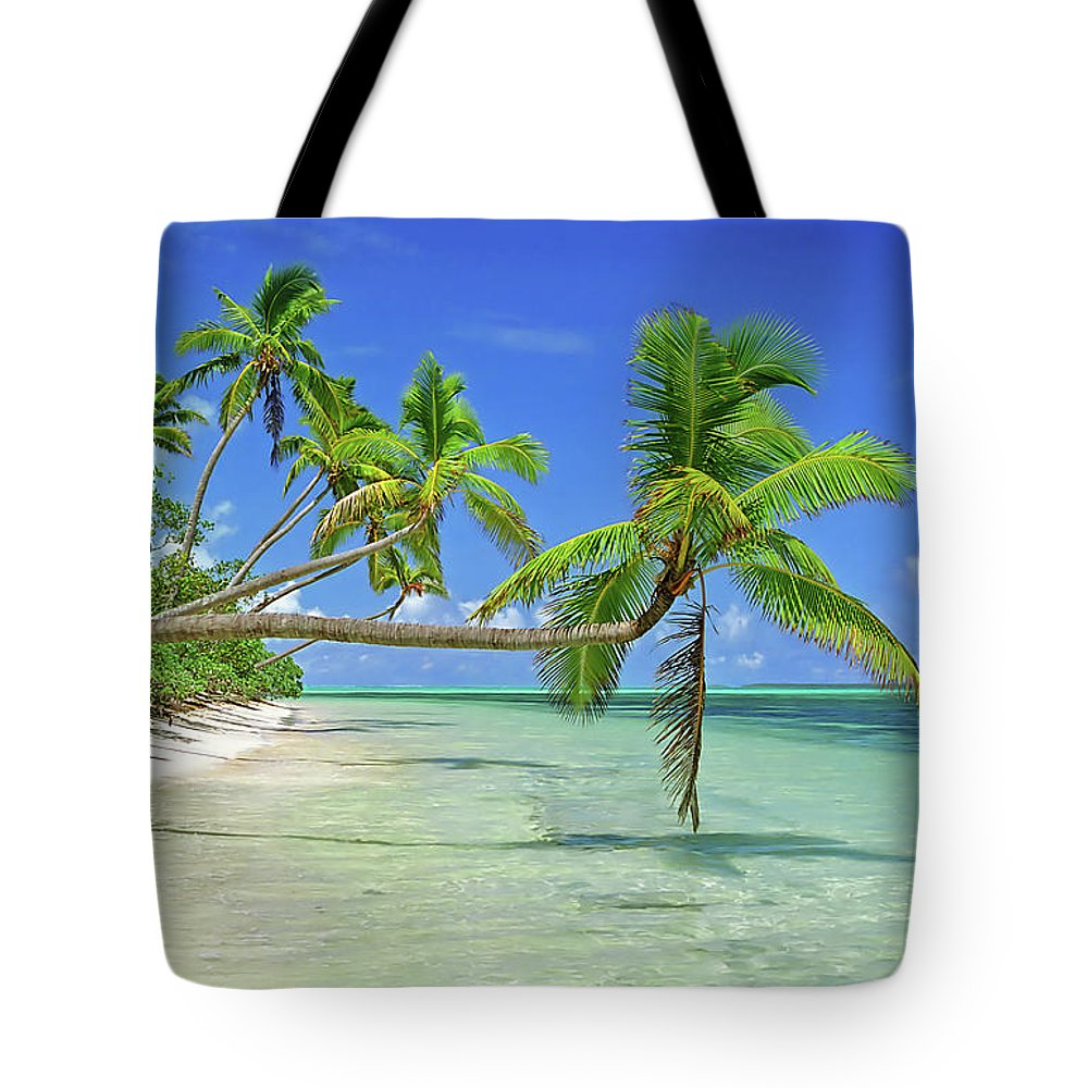 Shadow Tote Bag featuring the photograph Palmtrees Over Azure Waters In Tonga by Limewave - Inspiration To Exploration