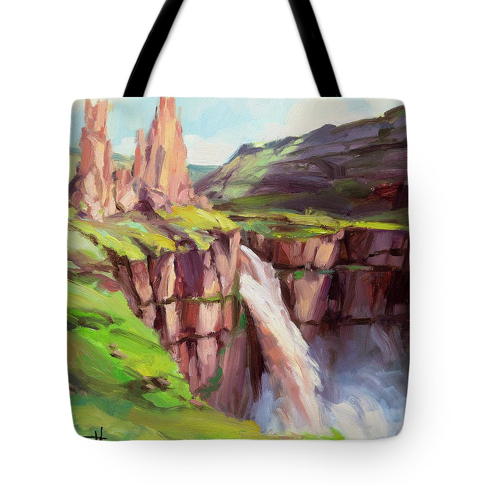Waterfall Tote Bag featuring the painting Palouse Falls Rush by Steve Henderson