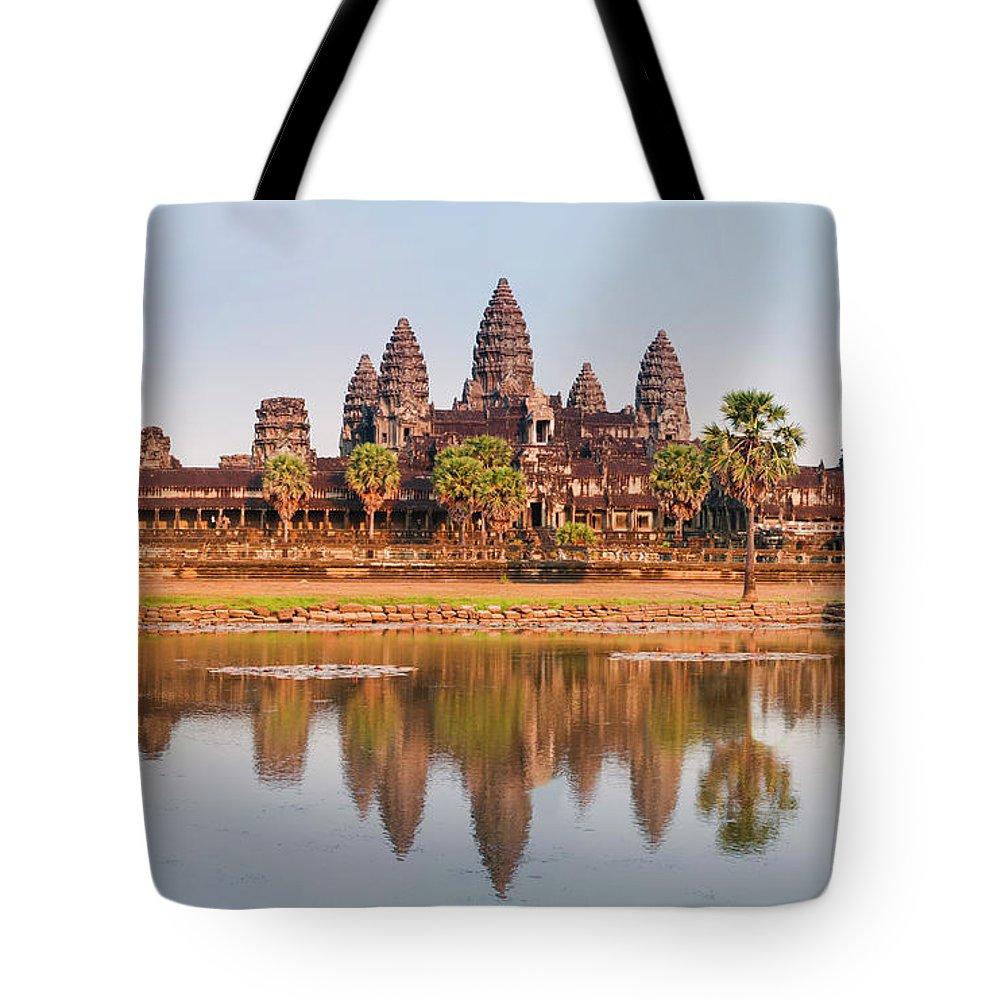 Hinduism Tote Bag featuring the photograph Panorama Of Angkor Wat Cambodia Ruins by Leezsnow
