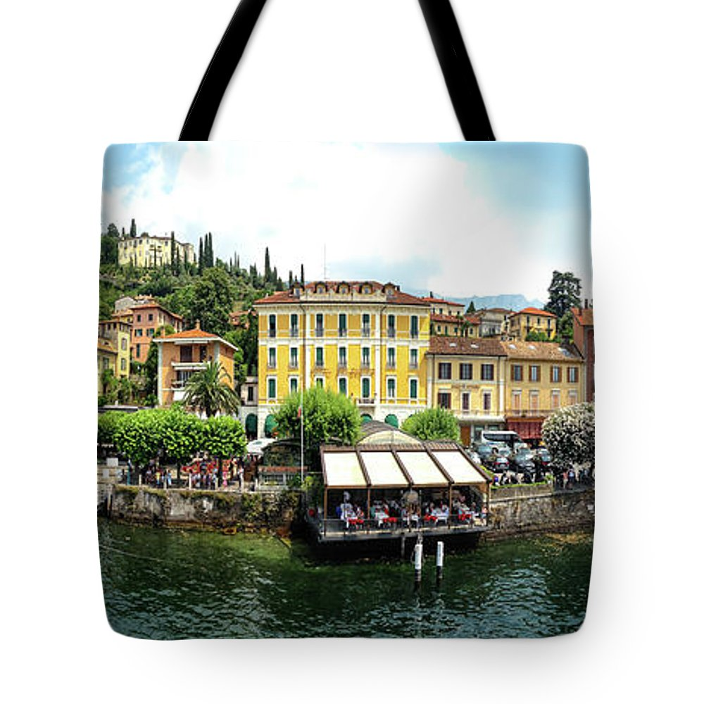 Tranquility Tote Bag featuring the photograph Panorama Of Bellagio From Lake Como by Melinda Moore
