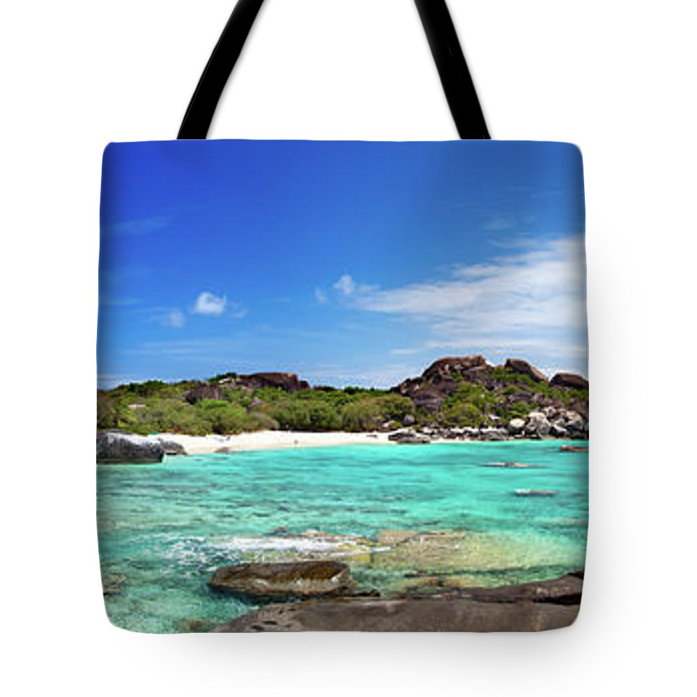 Scenics Tote Bag featuring the photograph Panorama Of Spring Bay And The Baths by Cdwheatley