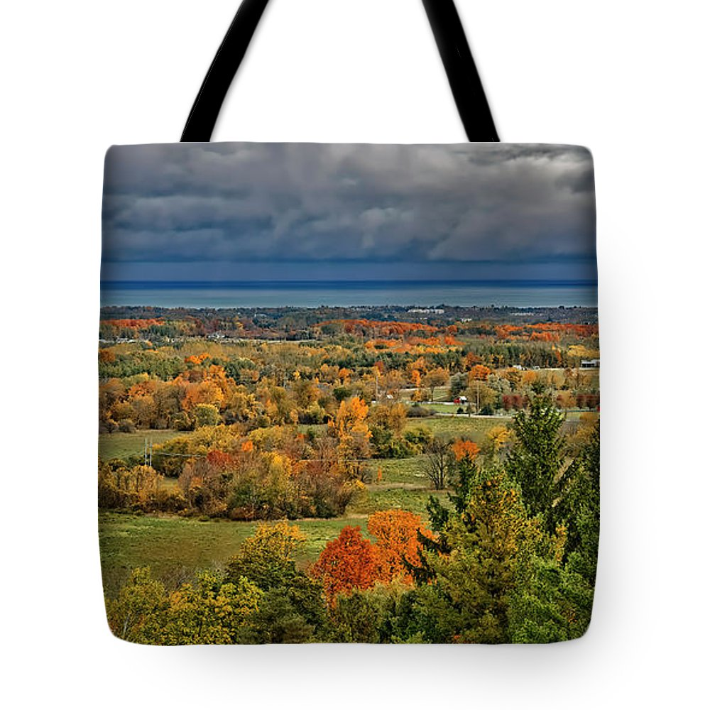 The Blue Mountains: Autumn Tote Bag featuring the photograph Panoramic Autumn View by Phill Doherty