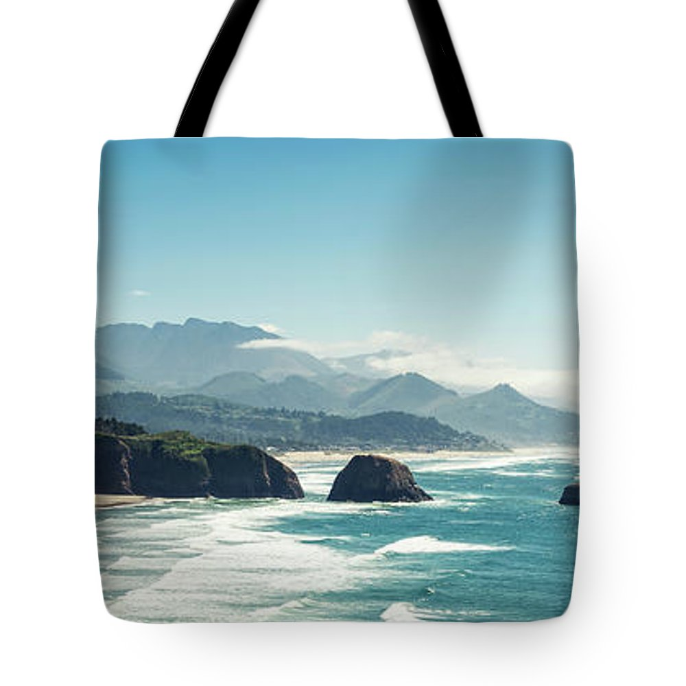 Scenics Tote Bag featuring the photograph Panoramic Shot Of Cannon Beach, Oregon by Kativ