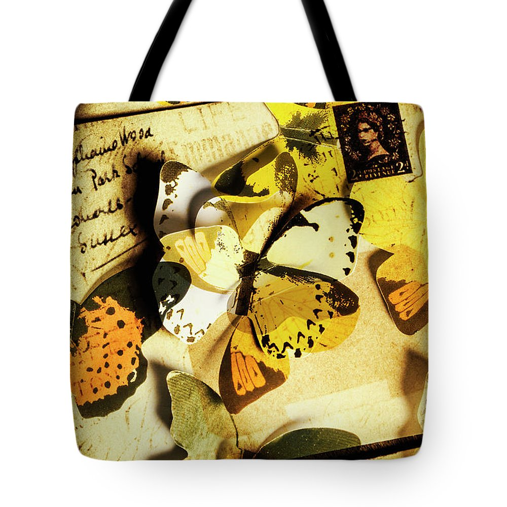 Postage Tote Bag featuring the photograph Paper Wings And Inked Out Notes by Jorgo Photography - Wall Art Gallery