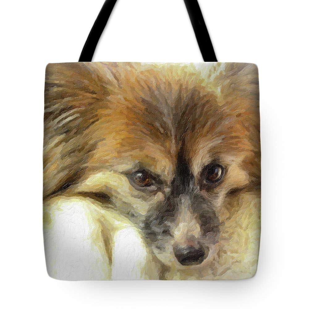 Papillon Tote Bag featuring the photograph Papillon Art by Donna Anderson